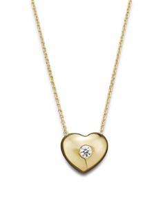 KC Designs - Small Diamond Solitaire Heart Pendant Necklace in 14K Yellow Gold, .10 ct. t.w.