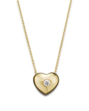 Kc Designs Small Diamond Solitaire Heart Pendant Necklace in 14K Yellow Gold, .10 ct. t.w.