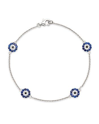 Bloomingdale's - Diamond and Blue Sapphire Evil Eye Station Bracelet in 14K White Gold- 100% Exclusive