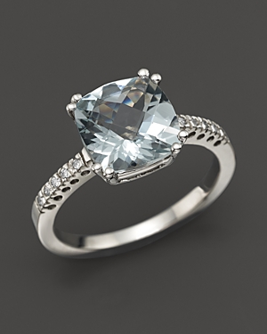 Click here for 14K White Gold Aquamarine Cushion Ring - 100 Exclu... prices
