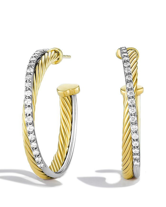 David Yurman - Crossover Medium Hoop Earrings with Diamonds in Gold
