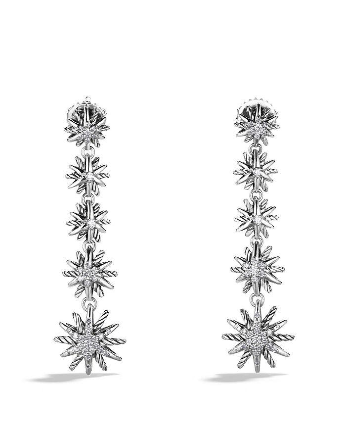 David Yurman Starburst Drop Earrings With Diamonds In Silver