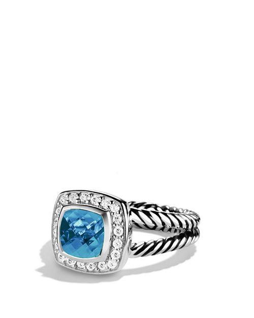 David Yurman - Petite Albion Ring with Blue Topaz & Diamonds
