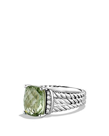 David Yurman - Petite Wheaton Ring with Prasiolite and Diamonds