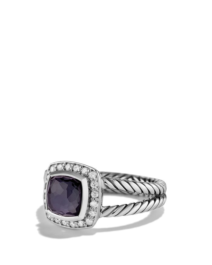 David Yurman - Petite Albion Ring with Black Orchid & Diamonds