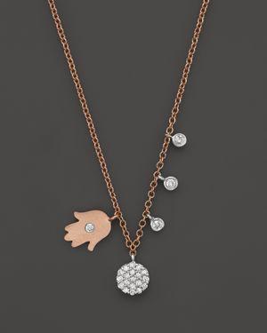 Meira T 14K Rose & White Gold Hamsa Disc Diamond Necklace, 16