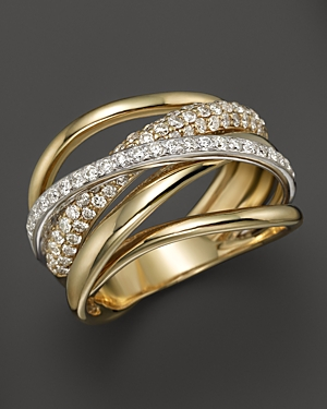 Diamond Pave Crossover Band in 14K White and Yellow Gold, .70 ct. t.w. - 100% Exclusive