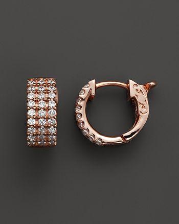 Bloomingdale's - Diamond 3 Row Huggie Hoop Earrings 14K Rose Gold, .50 ct. t.w.- 100% Exclusive