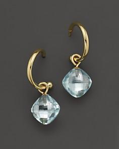 Blue Topaz Small Hoop Earrings in 14K Yellow Gold - 100% Exclusive - Bloomingdale's_0