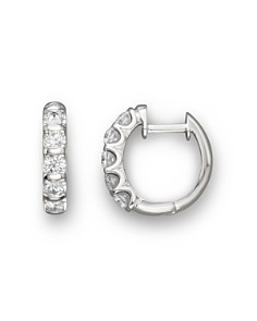 Diamond Bar Band Hoop Earrings in 14K White Gold, 1.0 ct. t.w. - 100% Exclusive - Bloomingdale's_0