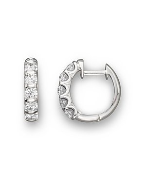 Diamond Bar Band Hoop Earrings in 14K White Gold, 1.0 ct. t.w. - 100% Exclusive