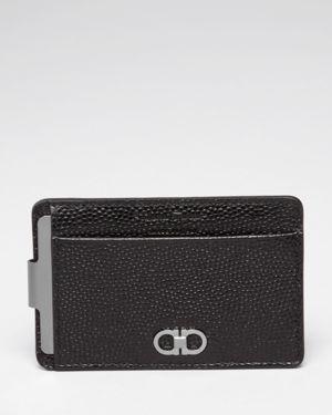 Salvatore Ferragamo Ten-Forty One Pebbled Leather Money Clip Card Case