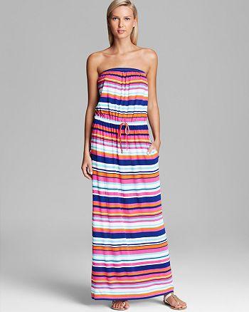 Macbeth Collection - Multi Stripe Strapless Swim Cover-Up Maxi Dress