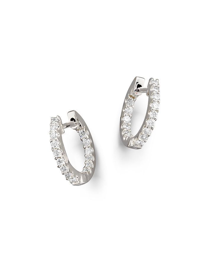 Bloomingdale's - Diamond Inside Out Hoop Earrings in 14K White Gold, 0.30 ct. t.w.- 100% Exclusive