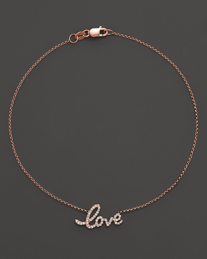 08fa88272e KC Designs Diamond Love Ankle Bracelet in 14K Rose Gold, .16 ct ...