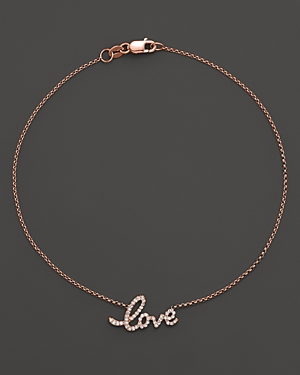 Kc Designs Diamond Love Ankle Bracelet in 14K Rose Gold, .16 ct. t.w.