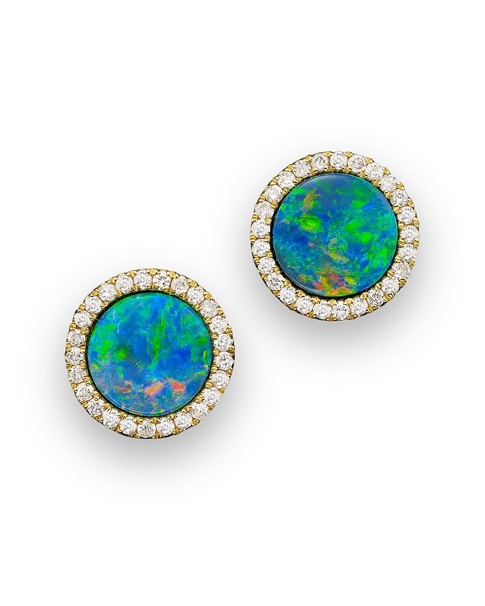 14k Yellow Gold Blue Opal And Diamond Stud Earrings