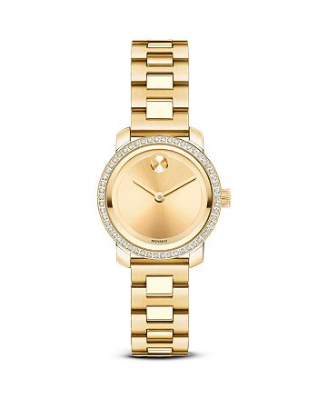 Movado - Movado BOLD Yellow Gold Ion-Plated Stainless Steel Watch with Diamonds, 25mm