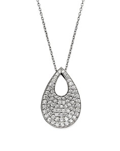 "Roberto Coin 18K White Gold Diamond Teardrop Pendant Necklace, 18"" - Bloomingdale's_0"