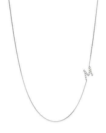 KC Designs - Diamond Side Initial M Necklace in 14K White Gold, .08 ct. t.w.