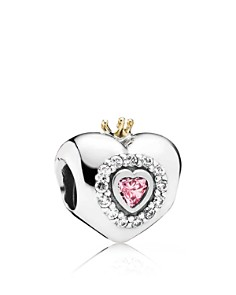 PANDORA Moments Collection Sterling Silver, Cubic Zirconia & 14k Gold Princess Heart Charm - Bloomingdale's_0