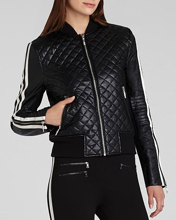 BCBGMAXAZRIA - Morgan Quilted Faux Leather Bomber
