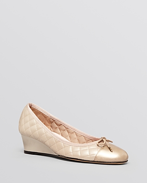 Paul Mayer Cap Toe Wedge Pumps - Nice Quilted