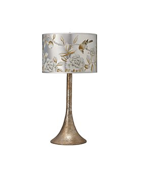 Jamie Young - Hammered Metal Table Lamp with Classic Hand-Painted Drum Shade