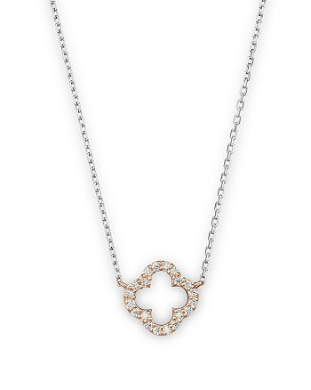 Bloomingdale's - Diamond Clover Pendant Necklace in 14K Rose and White Gold, .10 ct. t.w. - 100% Exclusive