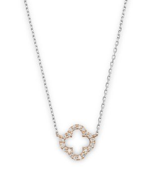 Diamond Clover Pendant Necklace in 14K Rose and White Gold, .10 ct. t.w. - 100% Exclusive