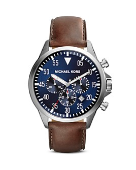 Michael Kors - Gage Leather Strap Watch, 45mm