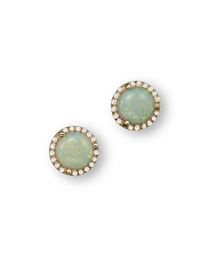 Opal and Diamond Halo Stud Earrings in 14K Yellow Gold - 100% Exclusive