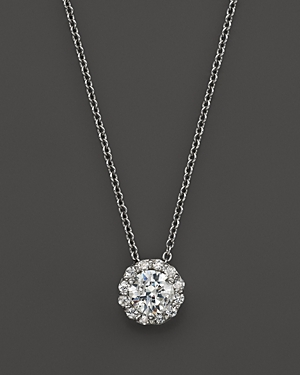 Certified Diamond Halo Pendant Necklace in 14K White Gold, 1.50 ct. t.w. - 100% Exclusive