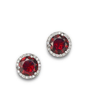 Bloomingdale's - Garnet and Diamond Halo Stud Earrings in 14K White Gold - 100% Exclusive