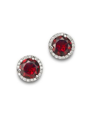 Garnet and Diamond Halo Stud Earrings in 14K White Gold - 100% Exclusive