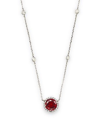 Bloomingdale's - Garnet and Diamond Halo Pendant and Station Necklace in 14K White Gold - 100% Exclusive