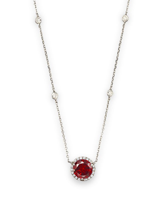 Bloomingdale's Garnet And Diamond Halo Pendant And Station Necklace In 14k White Gold, 16 - 100% Exclusive In Garnet/white