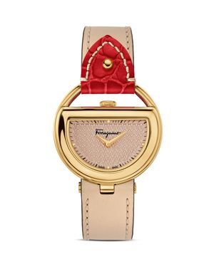 Salvatore Ferragamo Ferragamo Special Edition Beige and Red Buckle Watch, 37mm