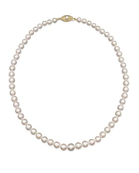 """Bloomingdale's - Akoya Cultured Graduated Pearl Necklace in 14K Yellow Gold, 18""""- 100% Exclusive"""
