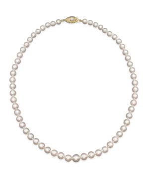 Akoya Cultured Graduated Pearl Necklace in 14K Yellow Gold, 18