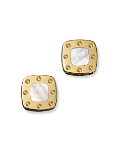 Roberto Coin 18K Yellow Gold Mini Pois Moi Mother-of-Pearl Square Stud Earrings - Bloomingdale's_0