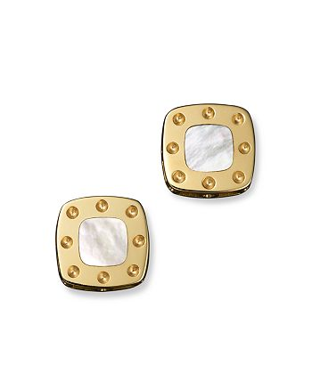 Roberto Coin - Roberto Coin 18K Yellow Gold Mini Pois Moi Mother-of-Pearl Square Stud Earrings