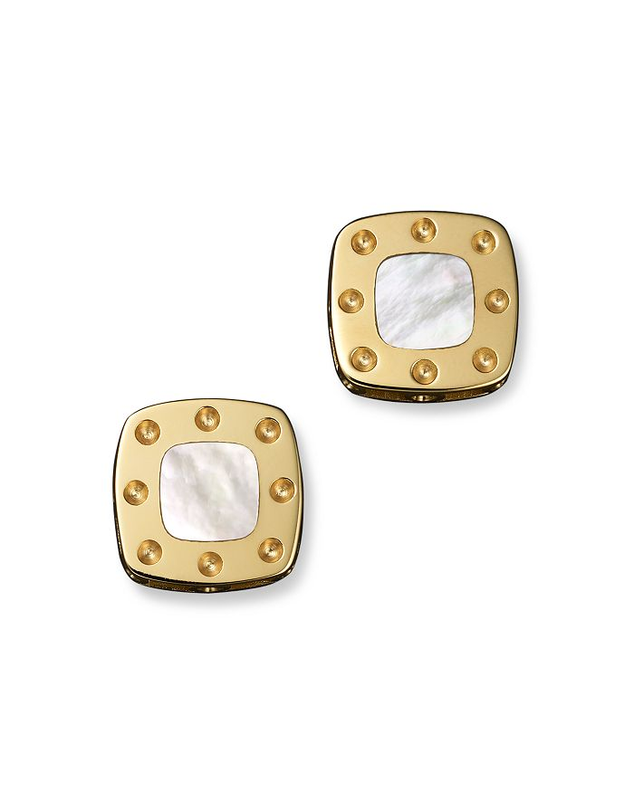 Roberto Coin - 18K Yellow Gold Mini Pois Moi Mother-of-Pearl Square Stud Earrings