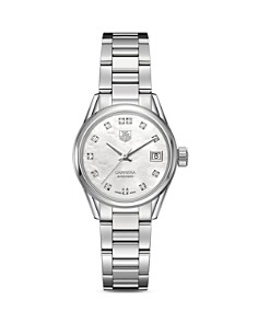 TAG Heuer Automatic Stainless Steel and White Mother of Pearl Dial Watch with Diamonds, 28mm - Bloomingdale's_0