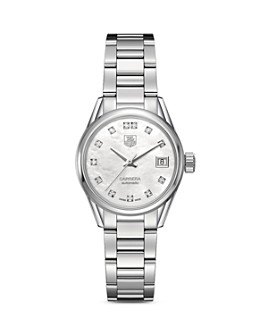 TAG Heuer - TAG Heuer Automatic Stainless Steel and White Mother of Pearl Dial Watch with Diamonds, 28mm