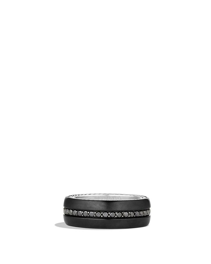 David Yurman - Streamline® Wide Band Ring with Black Diamonds and Black Titanium