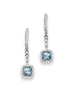 Bloomingdale's - Aquamarine and Diamond Drop Earrings in 14K White Gold - 100% Exclusive