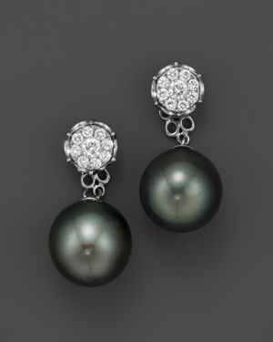 Cultured Tahitian Pearl Two Piece Earring with Diamonds in 18K White Gold, 11mm
