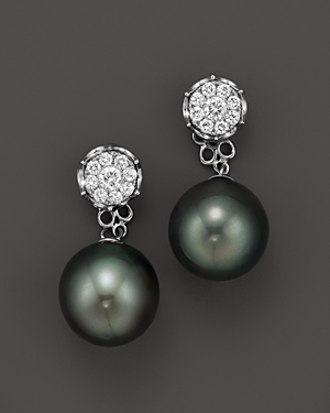 Click here for Cultured Tahitian Pearl Two Piece Earring with Dia... prices