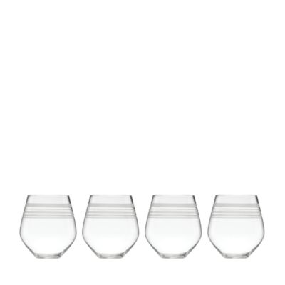 Library Stripe Stemless Red Wine Glass, Set of 4